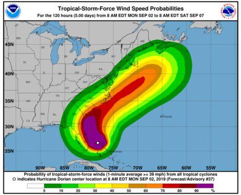 Hurrican Dorian Latest Track